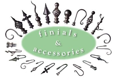 Wrought Iron and Steel Curtain Poles, Bay Window Poles, Finials ...